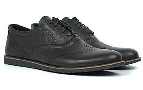 Туфлі чоловічі полегшені комфорт чорні шкіряні броги демісезонний взуття Rosso Avangard Romano Black Floto EVA
