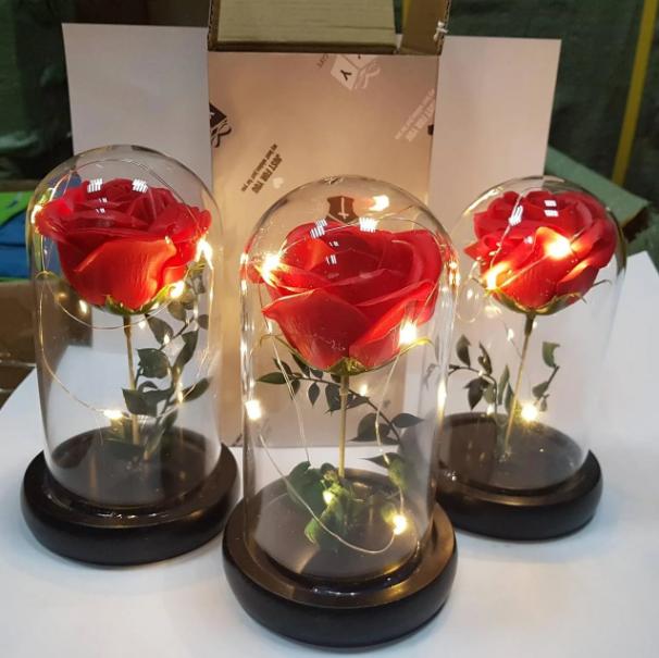 Стабілізована ТРОЯНДА В КОЛБІ З LED ПІДСВІЧУВАННЯМ, нічник, вічна троянда, 17 СМ Найкращий подарунок!