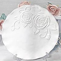 Блюдо керамическое сервировочное круглое Аэлита, цвет - белый, 32см, фото 1
