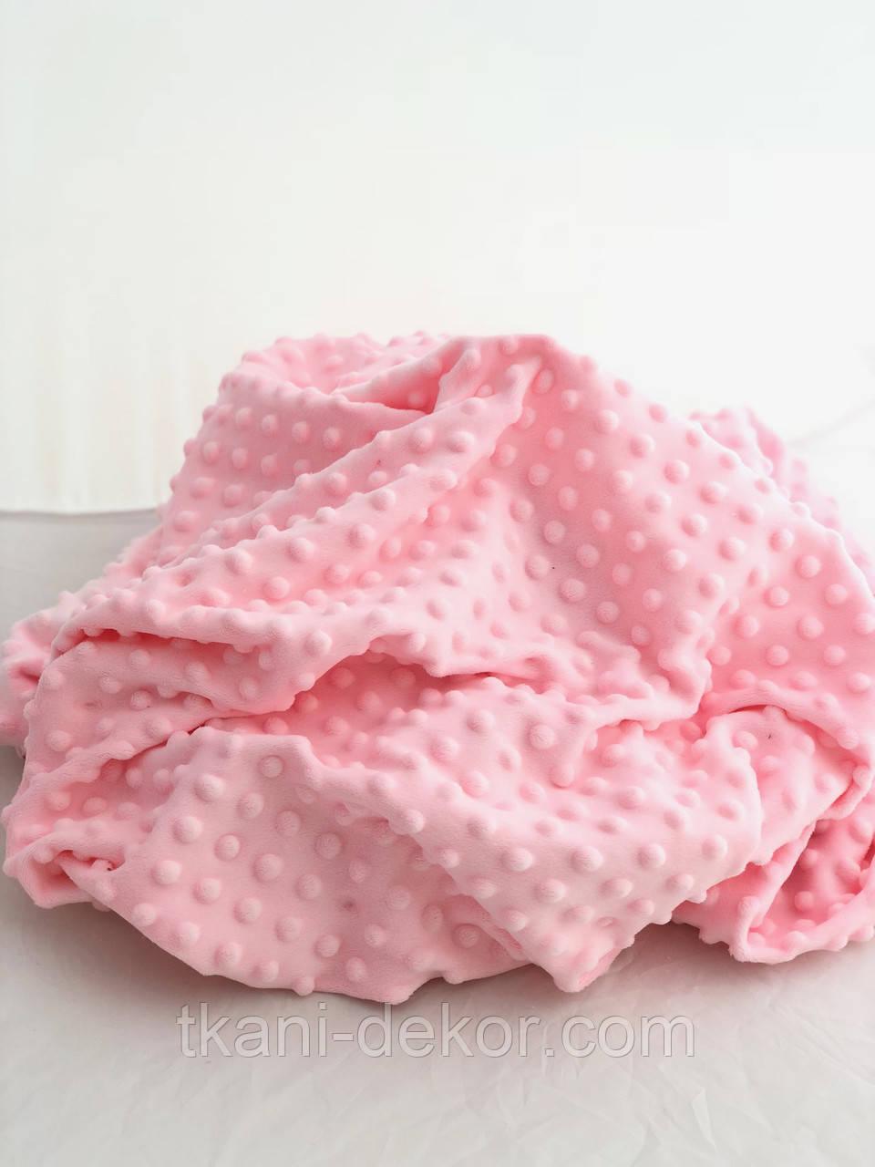 Тканина плюшева Minky Dots світло-рожевий (пупиришки)