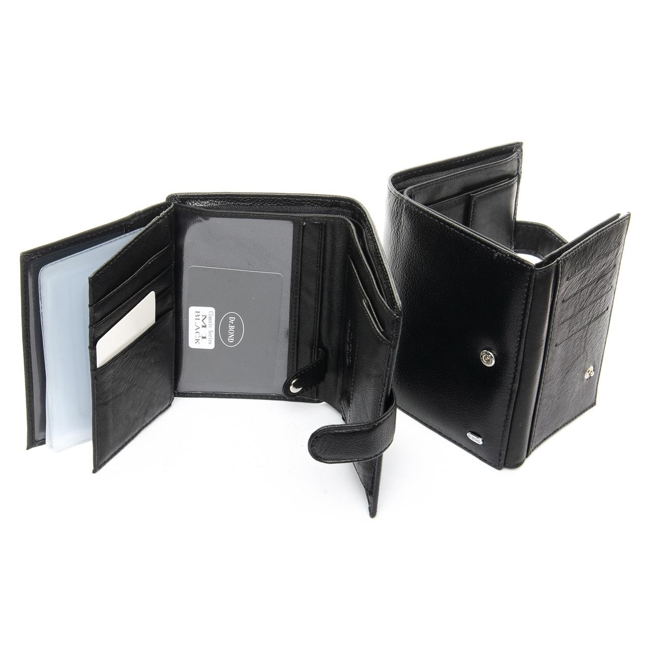 Портмоне для водительских прав и автодокументов кожаное кошелек черный мужской Dr. Bond M1