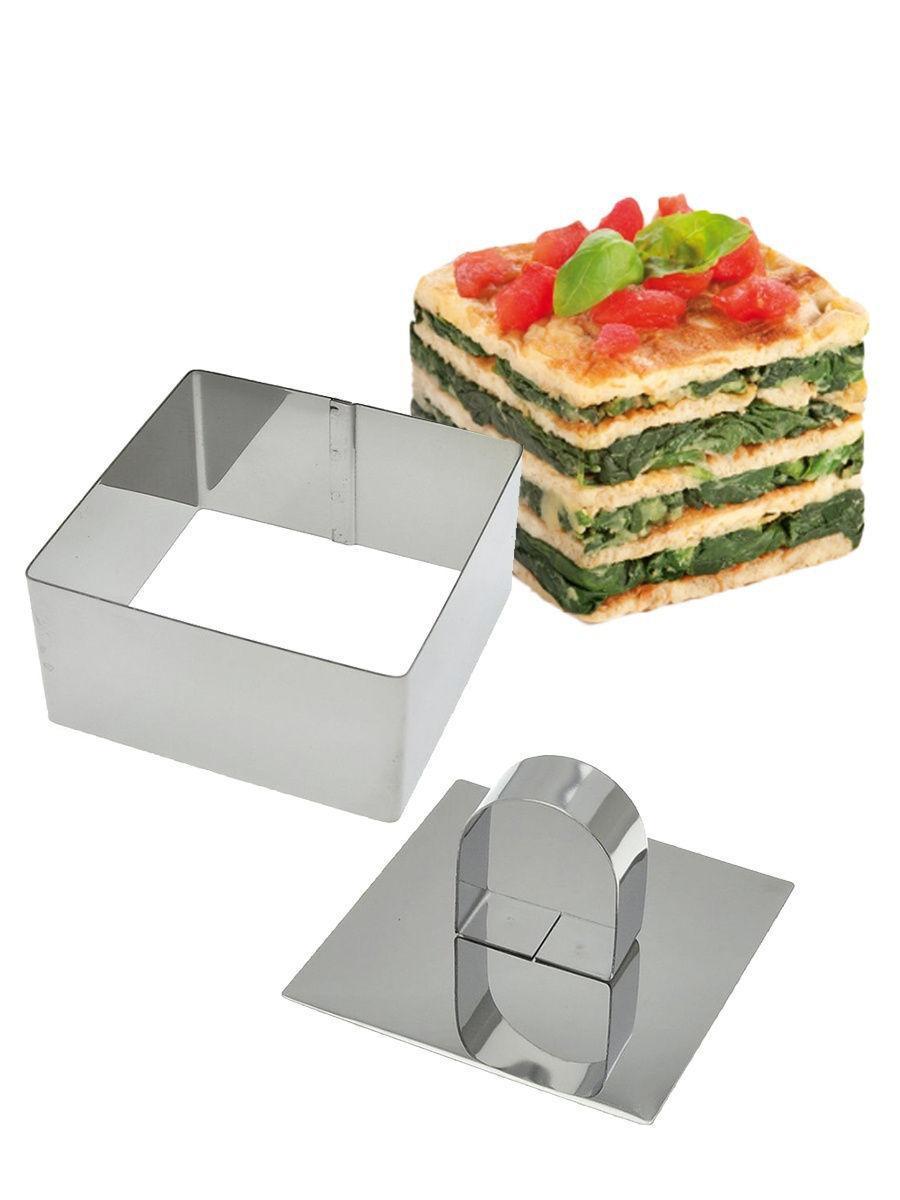 Форма для печива і муссовых десертів Квадрат, нерж. сталь, з кришкою-пресом, 8х4х8 см