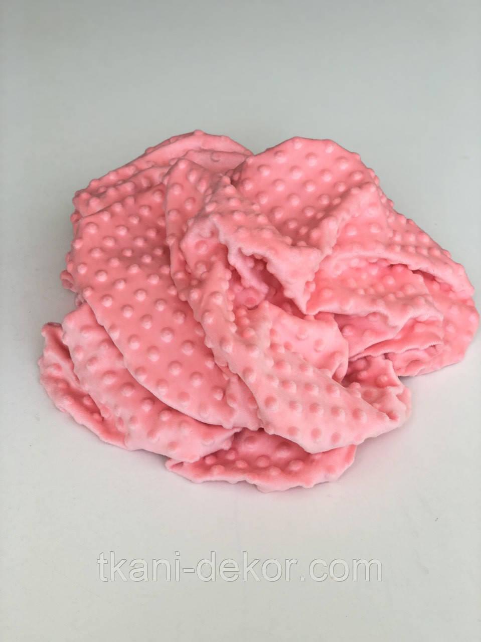 Ткань плюшевая Minky Dots коралл (пупырышки)