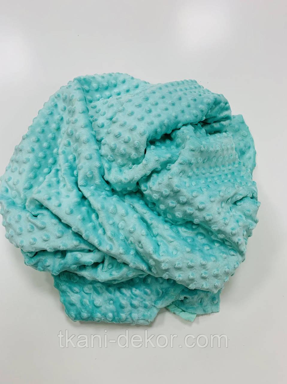 Ткань плюшевая Minky Dots мята (пупырышки)