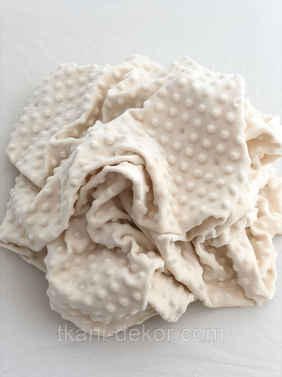 Тканина плюшева Minky Dots молочний (пупиришки) (Шлюб, 10 см від кромки змазана пупырка)
