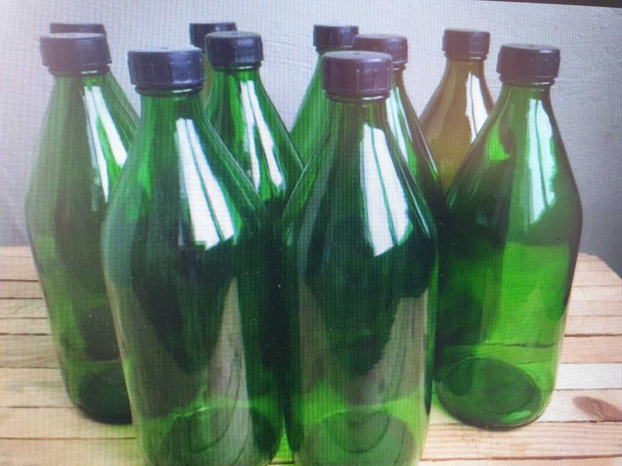 Пляшка 1 л з темного скла з пробкою і з кришкою), продаж від 20 шт.