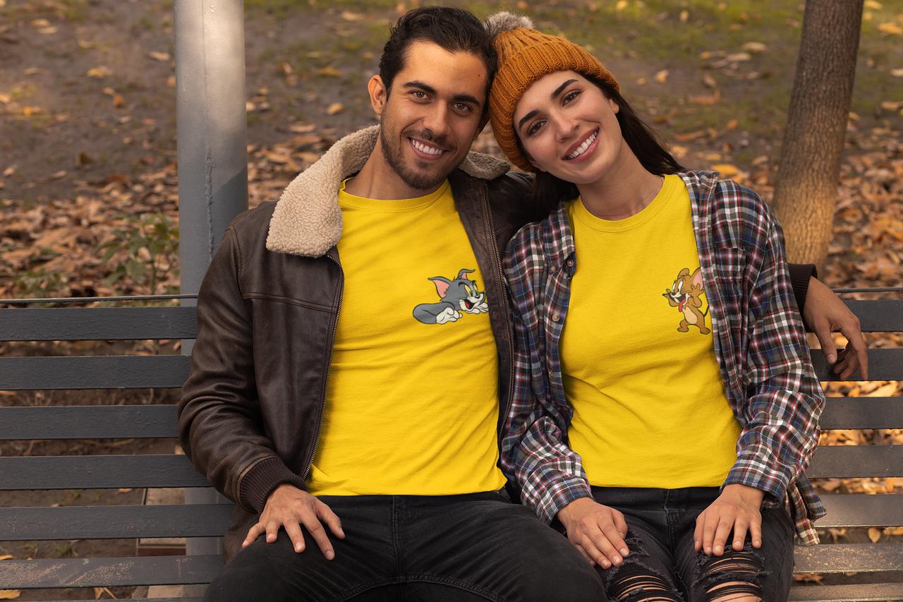 """Парные футболки для парня и девушки  """"Том и Джери"""""""