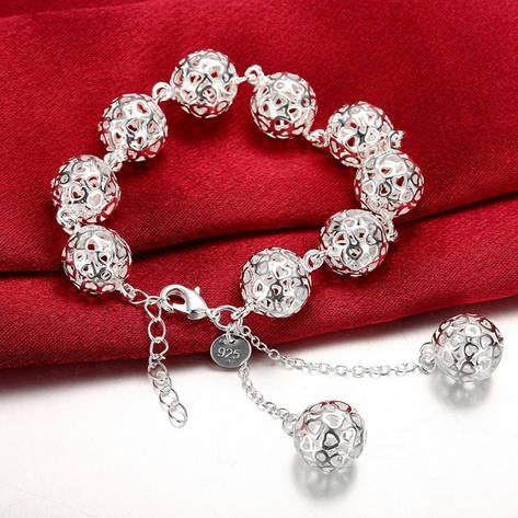 """Оригінальний жіночий браслет із срібними кульками """"Ажурний куля"""" покриття срібло, фото 2"""