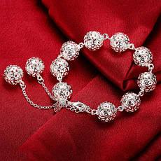 """Оригінальний жіночий браслет із срібними кульками """"Ажурний куля"""" покриття срібло, фото 3"""