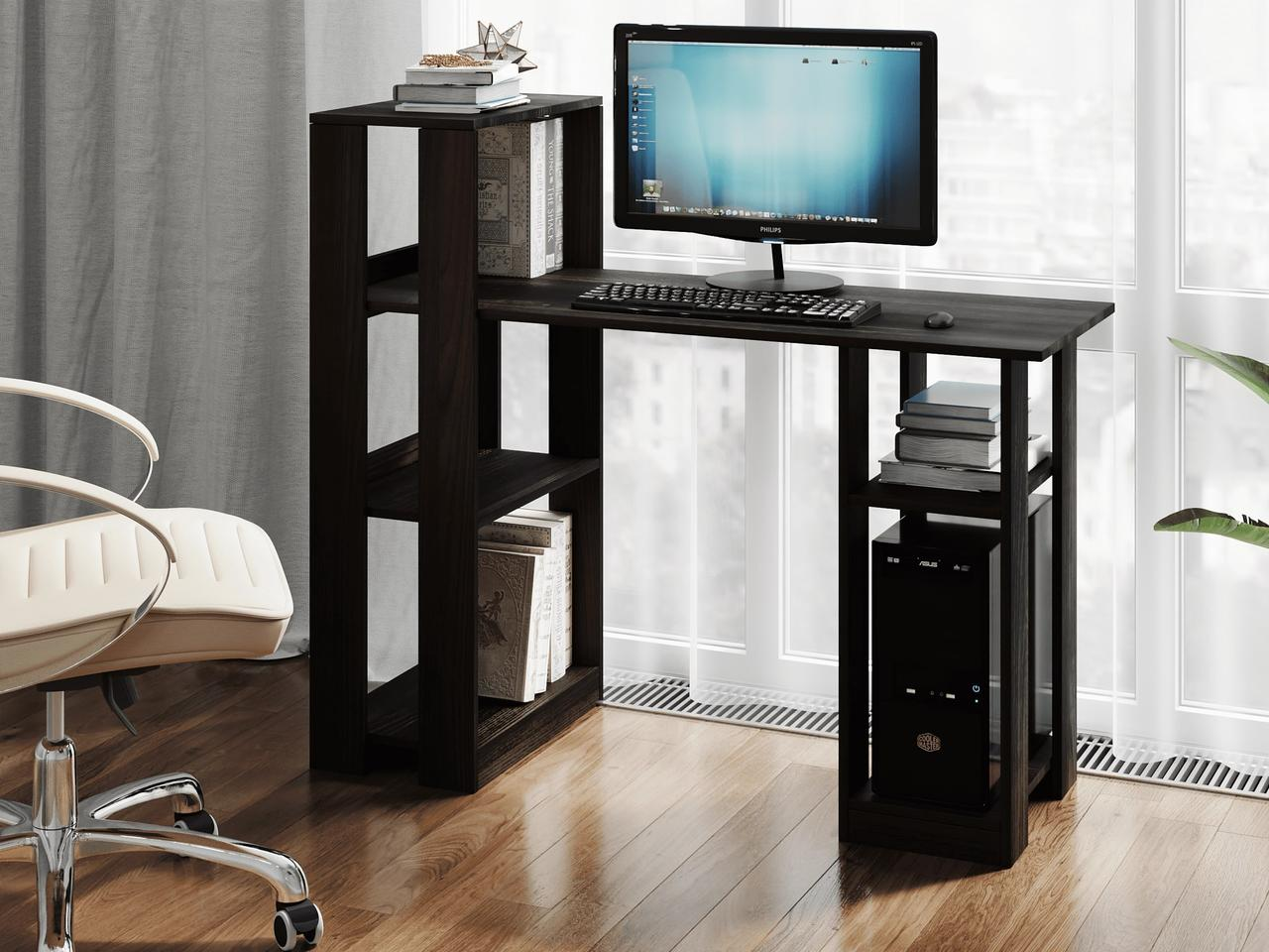 Комп'ютерний стіл з полками і осередком для системного блоку з ДСП Код: VZ-4