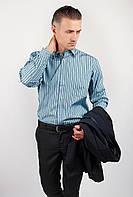 Чоловіча сорочка сіро-синя блакитна в смужку 869-38 колір Петроль 39