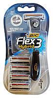 Одноразовая 3 лезвийная бритва BIC-3 Flex Hybrid (+ 4 сменных картриджа) - 1 шт.