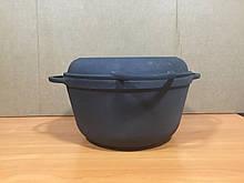 Чугунный казан 5,5 литров с чугуннной крышкой сковородкой