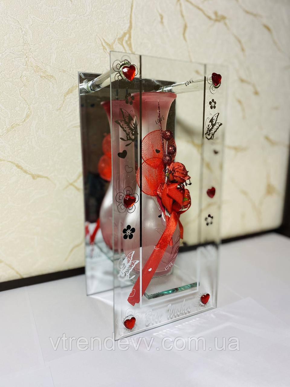 Ваза декоративная Glass Vase Red Красная