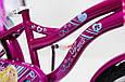 Дитячий фіолетовий велосипед для дівчинки Flora 20 дюймів з кошиком і багажником для ляльки від 10 років, фото 4
