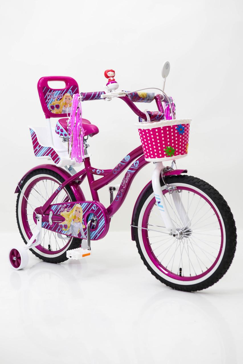 Дитячий фіолетовий велосипед для дівчинки Flora 20 дюймів з кошиком і багажником для ляльки від 10 років