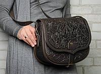 Кожаная сумка ручной работы Ягдташ, темно коричневая