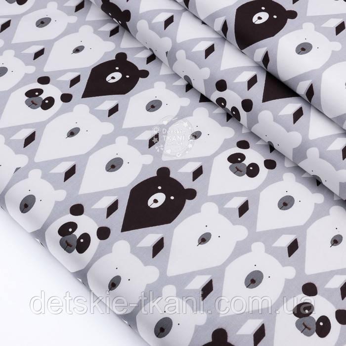 """Ткань сатин """"Мишки-треугольники чёрные, белые на сером"""", №3266с"""