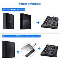 Зарядная док-станция для Playstation 4 / PS4 SLIM / PRO с 2 с LED зарядкой для 2-х геймпадов, фото 3