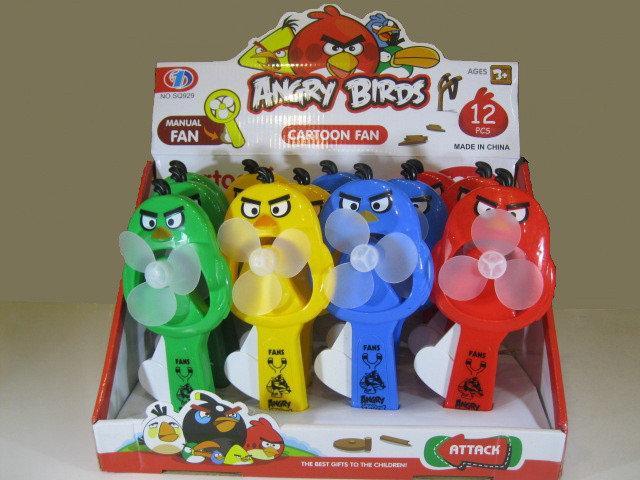 Ручний вентилятор Angry Birds (вибір кольору)   Дитячий маленький іграшковий вентилятор Злі пташки