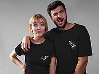 """Парные футболки для парня и девушки """"Ракета / Планета"""""""