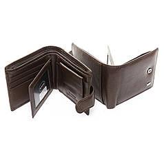 Кошелек портмоне коричневый мужской кожаный на кнопке вкладыш посередине для визиток Dr. Bond M14
