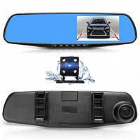 """Зеркало Видеорегистратор с камерой заднего вида экран 4,3"""" две камеры Car DVR 138W черный"""