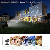 Лазерний проектор   Вуличний проектор сніжинки   Портативний проектор Laser Projector Lamp 4 картриджа, фото 5