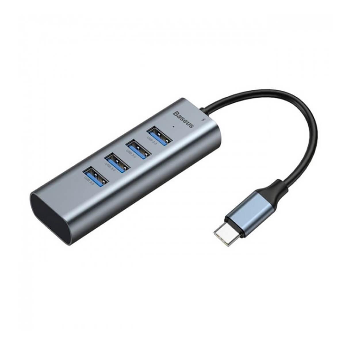 Мультиадаптер Baseus Enjoy series Type-C to USB3.0*4+HD4K HD intelligent HUB adapter Grey (CAHUB-N0G)