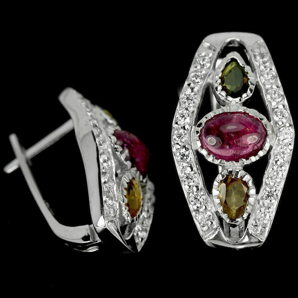 Серебряные серьги с турмалином разноцветным, 1527СТ