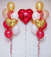 Большое сердце и 2 связки по 10 шариков