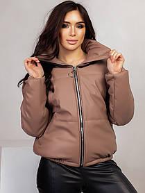 Короткая куртка пуховик из эко кожи, Женская укороченная теплая зимняя куртка из эко-кожи с карманами