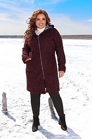 Пальто женское букле на молнии с капюшоном Большого размера, Женское пальто на молнии с капюшоном Большого