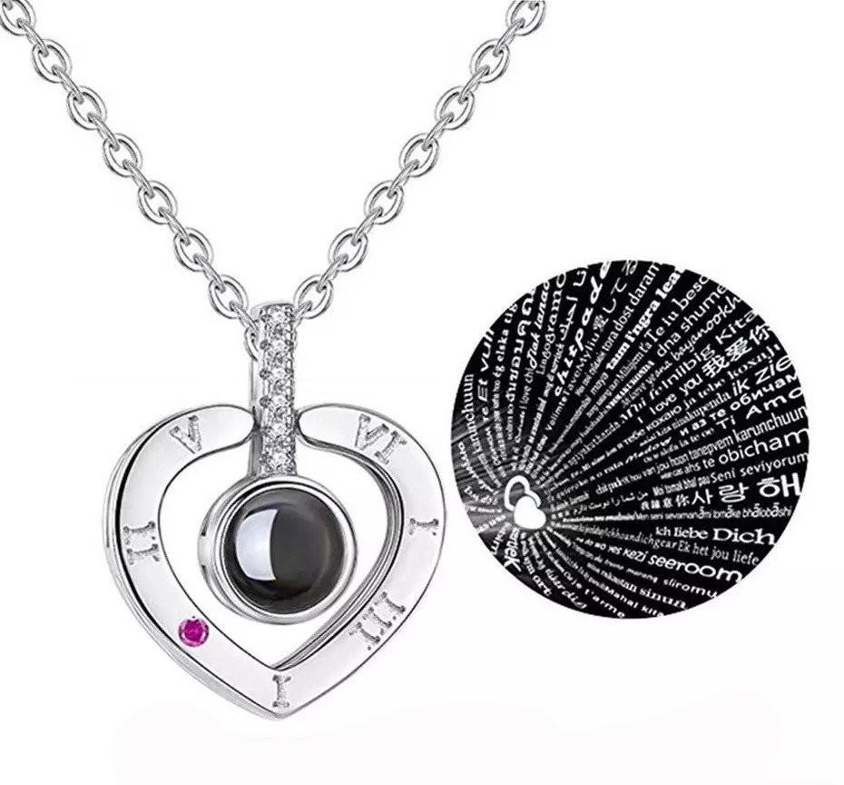 """Кулон з проекцією """"Я тебе люблю"""" на 100 мовах світу срібний Серце"""