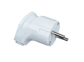 Вилка B16 евро OREL з/к белая угловая моноблочная