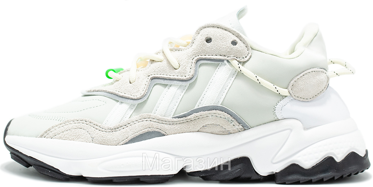 Женские кроссовки adidas Ozweego Light Grey White Адидас Озвиго белые бежевые