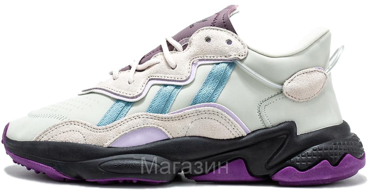 Женские кроссовки adidas Ozweego Grey Purple Адидас Озвиго серые EF4050