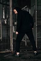 Спортивный костюм мужской ОВЕРСАЙЗ весенний осенний черный | Комплект трикотажный Кофта + Штаны ЛЮКС качества