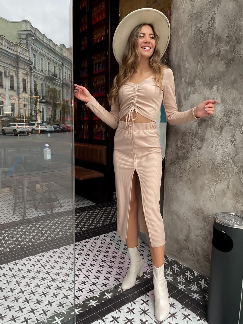 Женский костюм юбка + кроп топ на затяжках