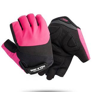 Спортивные фитнес перчатки WAY4YOU Pink для фитнеса спорта силовых тренировок атлетические