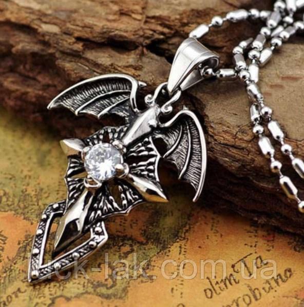 """Кулон """"Сердце дракона"""" подвеска крест с крыльями с кристаллом"""