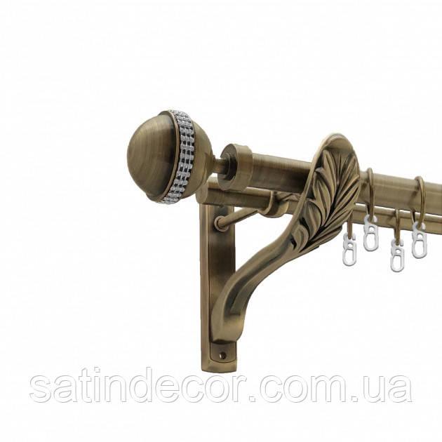 Карниз для штор АВЕЯ подвійний РЕТРО 25+19 мм 2.4м Колір Античне золото