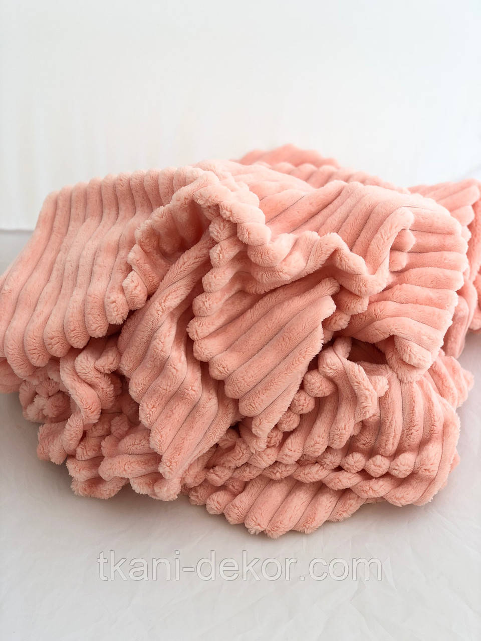 Ткань плюшевая Minky Stripes персик (шарпей)