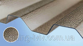 Полікарбонатний шифер Rober бронзовий текстурированный 2000*1045*0,8мм трапеция