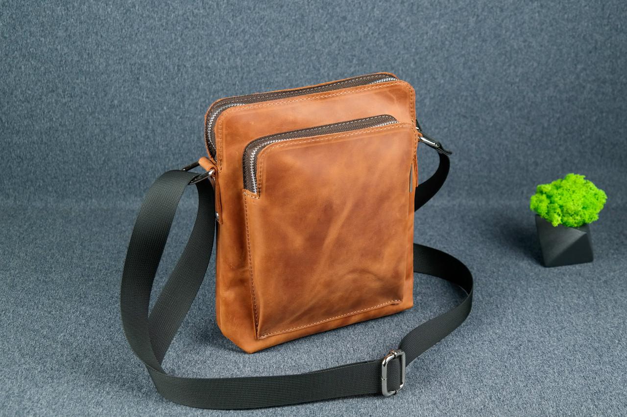 """Чоловіча сумка """"Модель №88"""", Вінтажна шкіра, колір Коньяк"""