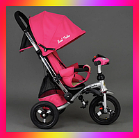 Детский трехколесный велосипед коляска Baby Trike 698С с игровой панелью и лежачим положением Розовый