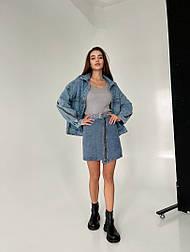 Женская джинсовая юбка с молнией спереди