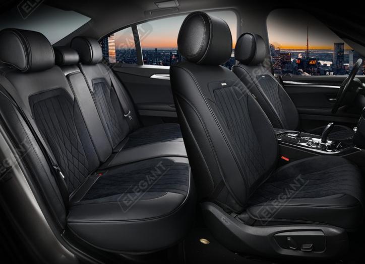 Чехлы 3D с алькантары Elegant Modena на передние и задние сидения автомобиля EL 700 136 черные