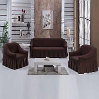 Набор чехлов с оборкой для дивана с креслами Разные цвета Коричневый