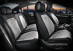 Чехлы 3D с алькантары Elegant Modena на передние и задние сидения автомобиля EL 700 133 серые